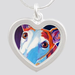 Greyhound #3 Silver Heart Necklace