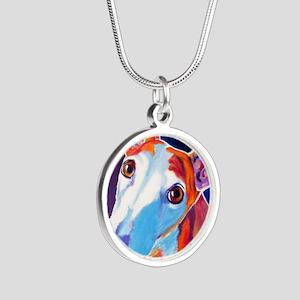 Greyhound #3 Silver Round Necklace
