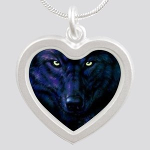 Midnight Wolf Silver Heart Necklace