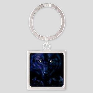 Midnight Wolf Square Keychain