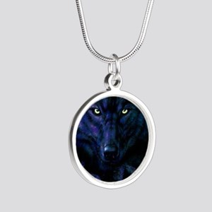 Midnight Wolf Silver Round Necklace
