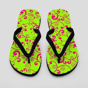 Elegant Lime Green and Pink Scroll Patt Flip Flops