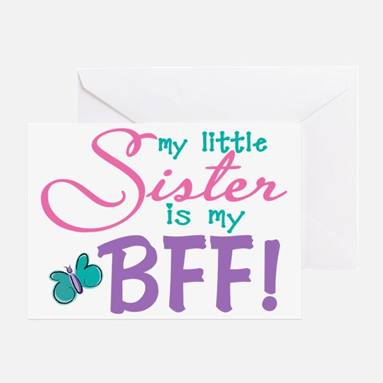 Little Sister BFF Butterfly Greeting Card