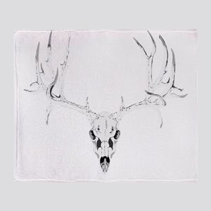 Mule deer skull white Throw Blanket