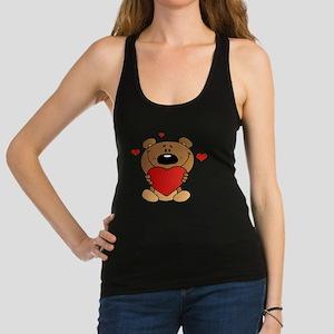 cute bear with hearts cartoon Racerback Tank Top