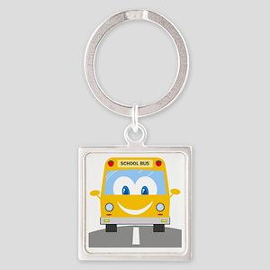 happy smiling school bus cartoon Square Keychain