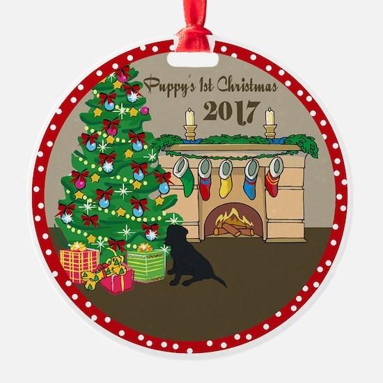 2017 Black Lab 1St Christmas Ornament