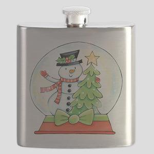 Cartoon Christmas Snow Globe Snowman Tree Flask