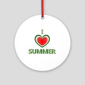 I Love Summer Round Ornament