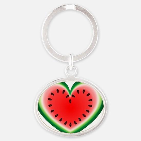 Watermelon Heart Oval Keychain
