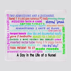 a day in the life of a nurse 3 Throw Blanket