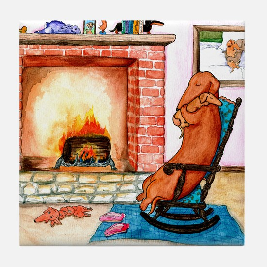 Dachshunds by the Hearth Tile Coaster