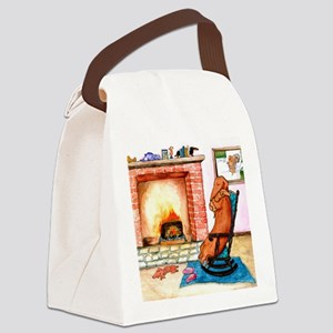 Dachshunds by the Hearth Canvas Lunch Bag