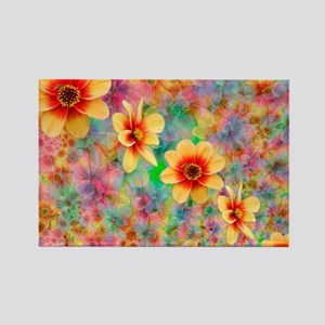 Hippie Psychedelic Flower Pattern Rectangle Magnet