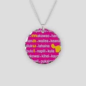 Maui Island Pink Type Print Necklace Circle Charm