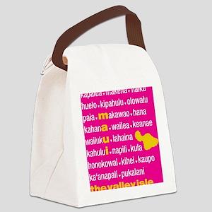 Maui Island Pink Type Print Canvas Lunch Bag