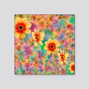 "Hippie Psychedelic Flower P Square Sticker 3"" x 3"""