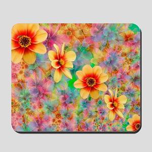 Hippie Psychedelic Flower Pattern Mousepad