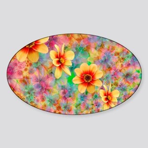 Hippie Psychedelic Flower Pattern Sticker (Oval)