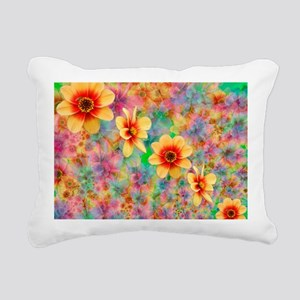 Hippie Psychedelic Flowe Rectangular Canvas Pillow