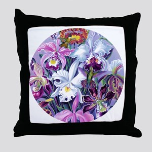 Lg RD Orchids Hummingbirds Throw Pillow