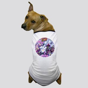 Lg RD Orchids Hummingbirds Dog T-Shirt