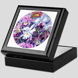 Lg RD Orchids Hummingbirds Keepsake Box