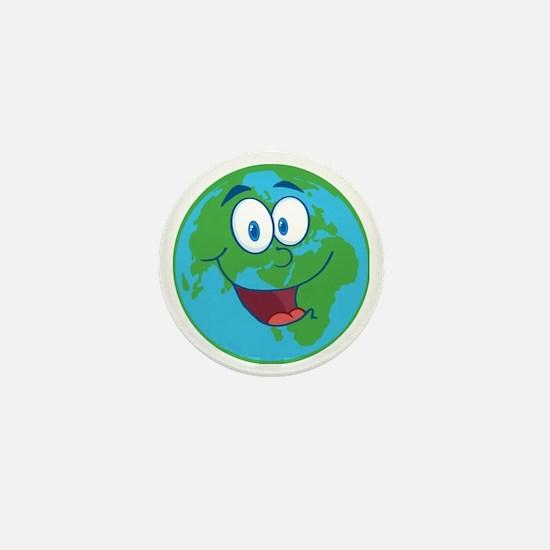 cute happy earth cartoon Mini Button