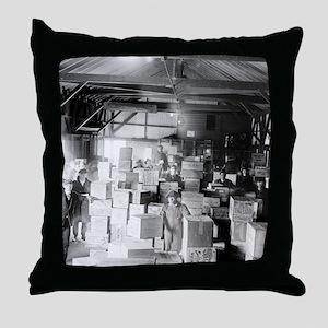 Bootleg Whiskey Warehouse Throw Pillow