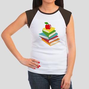 books and apple school  Women's Cap Sleeve T-Shirt