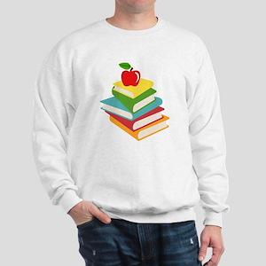 books and apple school design Sweatshirt