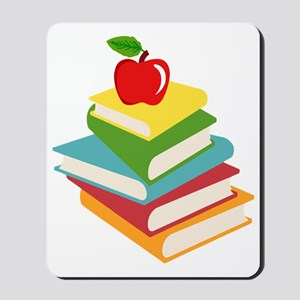 books and apple school design Mousepad