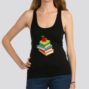 books and apple school design Racerback Tank Top