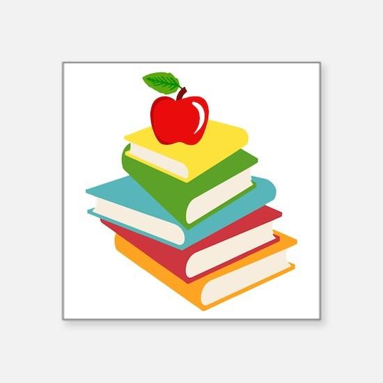 """books and apple school desi Square Sticker 3"""" x 3"""""""