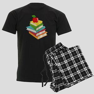 books and apple school design Men's Dark Pajamas