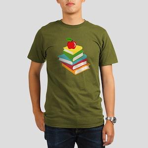 books and apple schoo Organic Men's T-Shirt (dark)