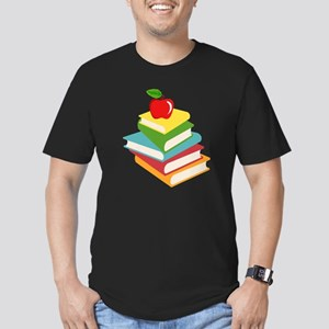 books and apple school Men's Fitted T-Shirt (dark)
