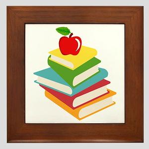 books and apple school design Framed Tile