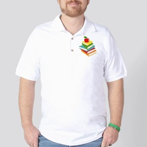 books and apple school design Golf Shirt