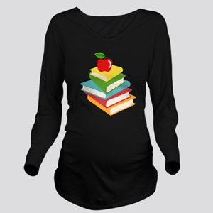 books and apple scho Long Sleeve Maternity T-Shirt