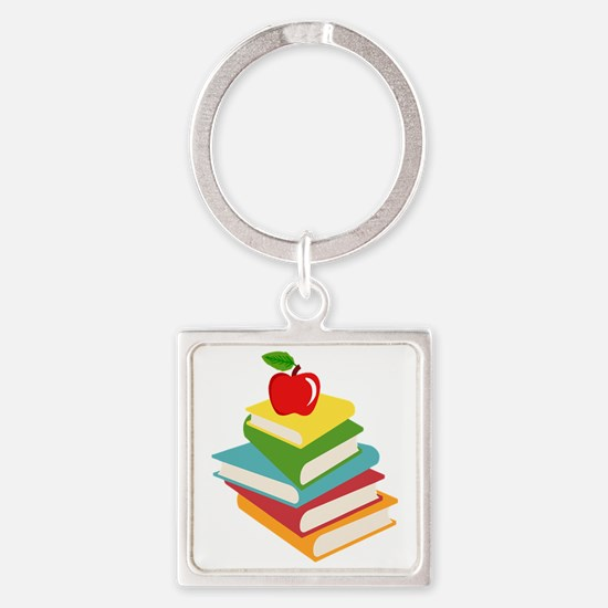 books and apple school design Square Keychain