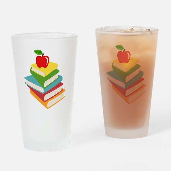 books and apple school design Drinking Glass