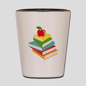 books and apple school design Shot Glass