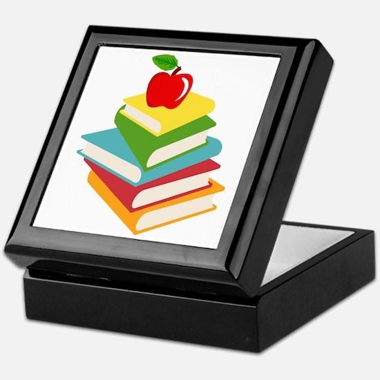 books and apple school design Keepsake Box