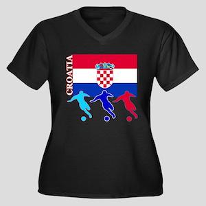 Croatia Soccer Women's Plus Size V-Neck Dark T-Shi