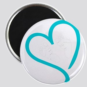 Baby Feet Heart Blue Magnet