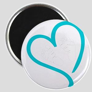 Baby Feet Heart Blue Magnet