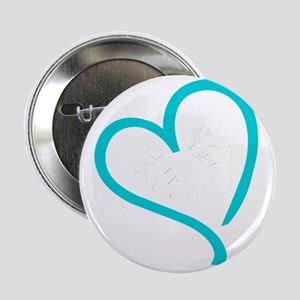 "Baby Feet Heart Blue 2.25"" Button"