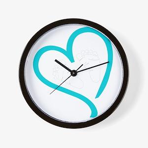 Baby Feet Heart Blue Wall Clock