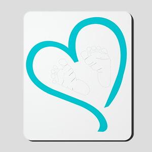 Baby Feet Heart Blue Mousepad